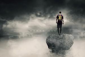 足球明星的背影