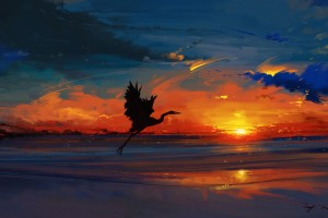 海滩上的仙鹤