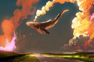 夕阳下的鲸鱼