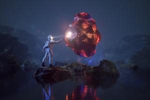宇航员与陨石