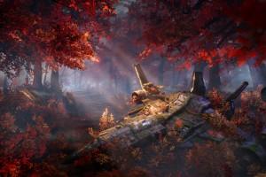 枫叶中的战斗机