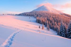 粉色的雪山