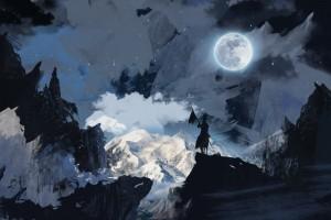 雪山与月亮