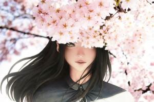 樱花下的少女